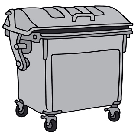 leavings: Hand drawing of a metal garbage container Illustration