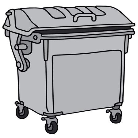 Hand tekening van een metalen vuilniscontainer