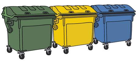 Gráfico de la mano de tres contenedores de basura de reciclaje Foto de archivo - 37930509