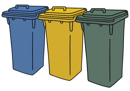 plastic: Hand tekening van drie plastic recycling vuilnisbakken Stock Illustratie