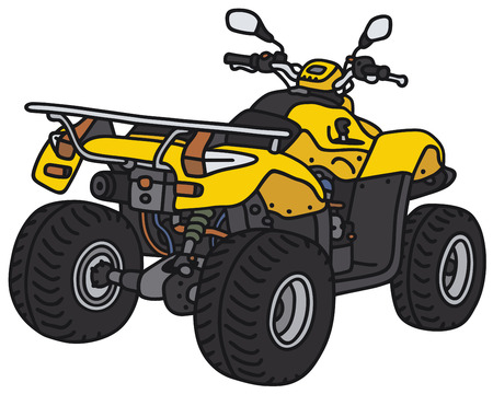 Hand drawing of the yellow all terrain vehicle - not a real model Vettoriali