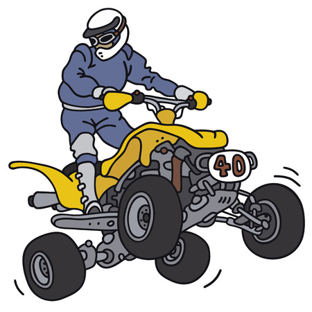 Hand drawing of a rider on the all terrain vehicle - not a real model Ilustrace