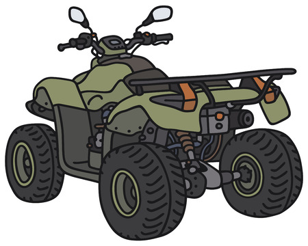 4wd: Hand drawing of a green all terrain vehicle - not a real model