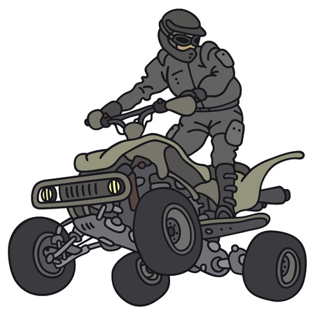 4wd: Hand drawing of a rider on the military all terrain vehicle - not a real model Illustration