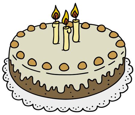 Disegno a mano di una torta di compleanno