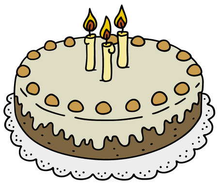 Hand drawing of a birthday cake