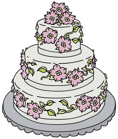 junket: Hand drawing of a big wedding cake