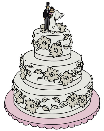 patisserie: Hand drawing of a wedding cake