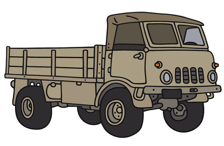 case sheet: Hand drawing of an old small terrain military truck - not a real model