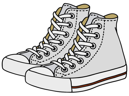 Hand drawing of a white sneakers