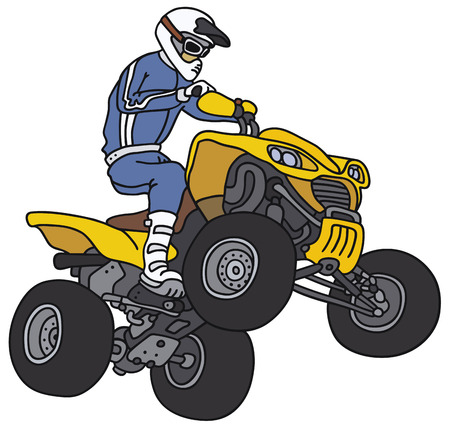 Hand drawing of a racer on the yellow all terrain vehicle