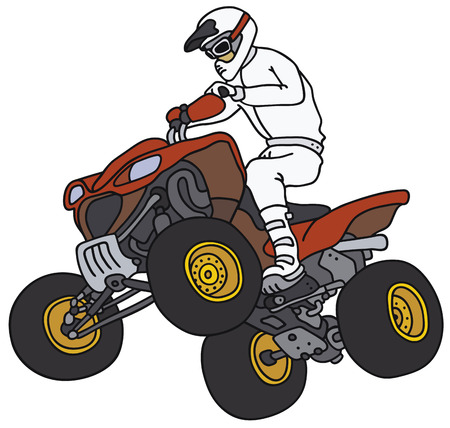 Hand drawing of a rider on the red ATV Illustration