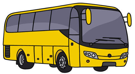 motor coach: Hand drawing of an yellow bus - not a real model