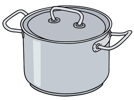 Hand drawing of a stainless steel pot