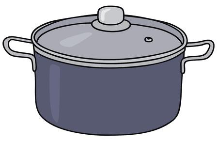 crock: Hand drawing of a blue steel pot