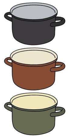 Disegno a mano di tre vasi di colore