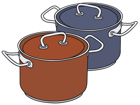 stainless steel pot: Hand drawing of two color steel pots