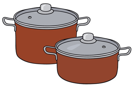 Hand drawing of two red steel pots