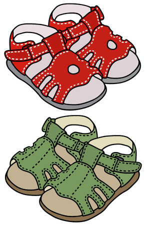 Hand drawing of red and green child's sandals