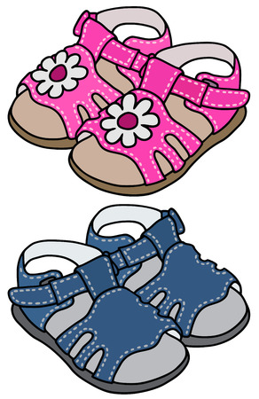 Hand drawing of two child's sandals