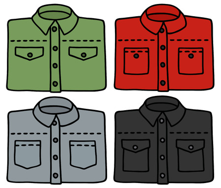 Hand drawing of four classic shirts Illustration