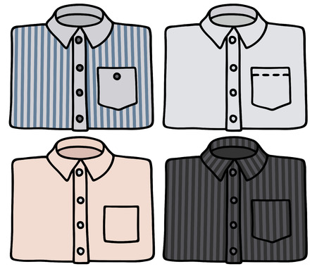 streaked: Hand drawing of four classic shirts Illustration