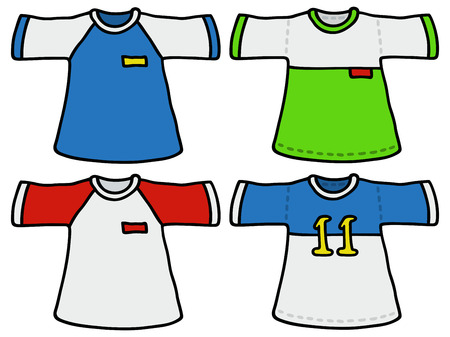 sporting: Hand drawing of four color sporting shirts