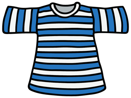striped vest: Hand drawing of a blue and white striped Tshirt Illustration