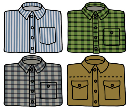 streaked: Hand drawing of check and striped shirts