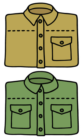 Hand drawing of sand and green shirts
