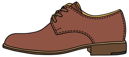 men's shoes: Hand drawing of a brown shoe Illustration
