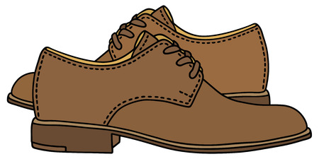 Hand drawing of a leather men's shoes Vectores