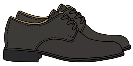 men's shoes: Hand drawing of a black mens shoes