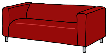 Hand drawing of a red couch