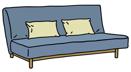 Hand drawing of a blue simple sofa Vector