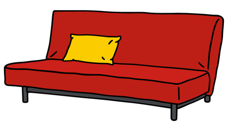 Hand drawing of a red simple sofa Vector