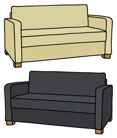 Hand drawing of cream and black sofa Vector