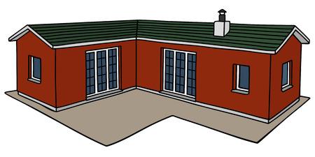 Disegno a mano di una casa bassa rossa