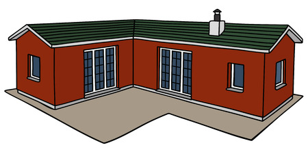 Hand Drawing Of A Red Low House Vector