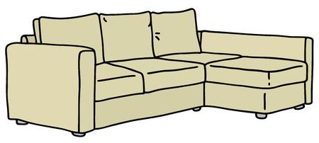 Disegno a mano di un grande divano crema
