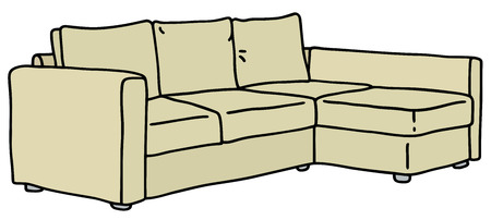 Hand drawing of a cream big couch Vector