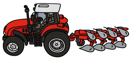 plow: Hand drawing of a red tractor with the plow  not a real type