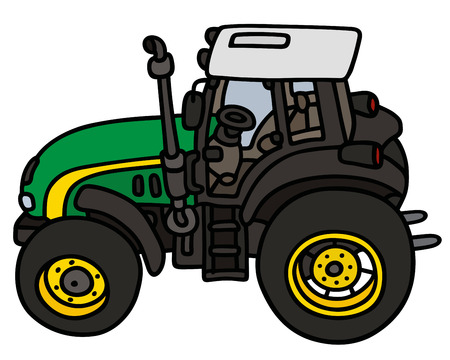 agronomic: Hand drawing of a green tractor  not a real type Illustration