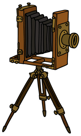 Hand drawing of a vintage photographic camera with bellows  not a real model