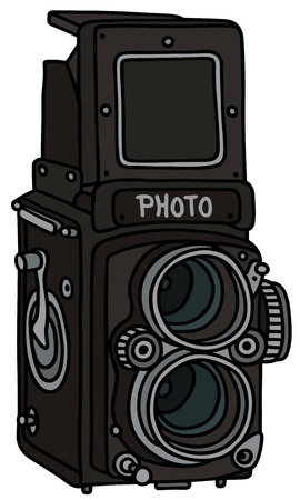 Hand drawing of a retro photographic camera  not a real model
