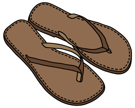sandals: Hand drawing of leather simple sandals Illustration