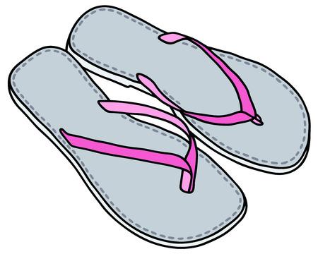 Disegno a mano di scarsa illuminazione sandali blu Vettoriali