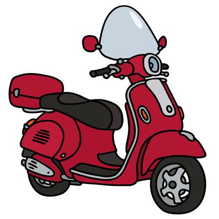 Disegno a mano di un non scooter rosso un modello reale