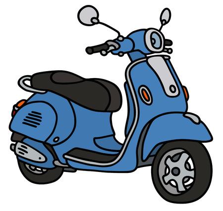 Disegno a mano di un non motorino blu retr� un modello reale Vettoriali