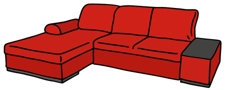 appetizers: Hand drawing of a red big couch